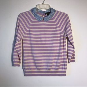 J. Crew Liberty Collar Merino Sweater in Stripe E1